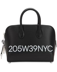 CALVIN KLEIN 205W39NYC Small Dalton Logo Printed Leather Bag - Black