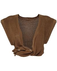 Jacquemus Cropped Linen Knit Twisted Top - Natural