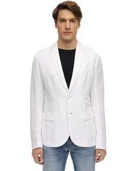Armani Exchange Blazer En Lin Et Viscose - Blanc