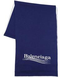 Balenciaga コットン&ビスコースマフラー - ブルー