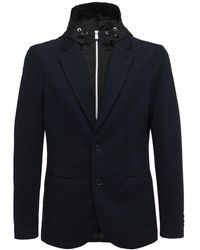 Armani Exchange ダブルレイヤーフーデッドジャケット - ブルー
