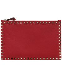 Valentino | Medium Rockstud Grained Leather Pouch | Lyst