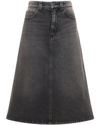 Balenciaga Organic Cotton Denim Midi Skirt - Black