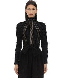 Zimmermann Ruched Silk Top - Black