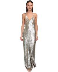 Temperley London スパンコールロングドレス - メタリック