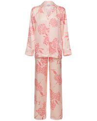 La Perla Pyjamahose Aus Bedrucktem Seidensatin - Pink