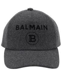 Balmain Бейсболка Из Фетра С Логотипом - Серый
