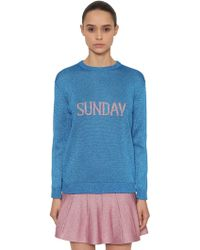 Alberta Ferretti - Oversized Sunday Lurex Knit Sweater - Lyst