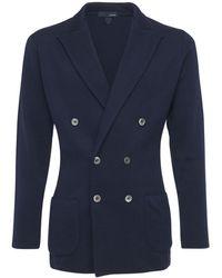 Lardini Куртка Из Трикотажного Хлопка - Синий