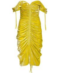Bottega Veneta Платье Из Бархата Стрейч С Драпировкой - Желтый