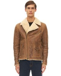 Salvatore Santoro Mena Leather Biker Jacket W/ Shearling - Natural