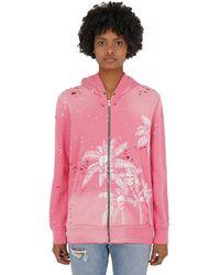 DOMREBEL Palm Skull Zip-up Sweatshirt Hoodie - Pink