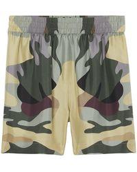 "Burberry Shorts ""tawney"" In Seta Stampata - Multicolore"