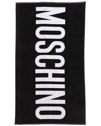 Moschino Serviette De Plage En Coton Logo Imprimé - Noir