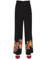 Etro - Floral Hem Silk Crepe De Chine Pants - Lyst