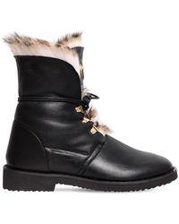 Giuseppe Zanotti - 30mm Leather & Rabbit Fur Ankle Boots - Lyst