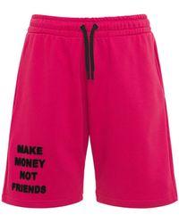 MAKE MONEY NOT FRIENDS Logo Neon Cotton Jersey Sweat Shorts - Red