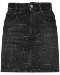 Balenciaga Короткая Юбка Из Хлопкового Денима - Черный