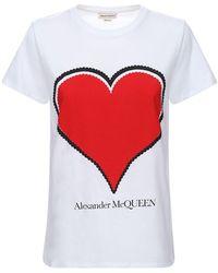 Alexander McQueen Футболка Из Хлопкового Джерси - Красный