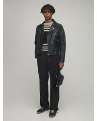 Maison Margiela Leather Biker Jacket - Black