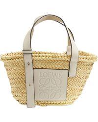 Loewe White Leather And Raffia Basket Bag