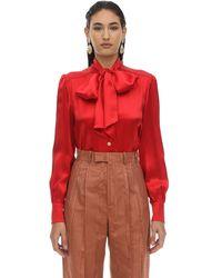 aspetto dettagliato b52d7 41d1d Camicia In Seta E Viscosa - Rosso