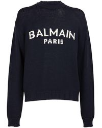 Balmain ウールニットセーター - ブルー