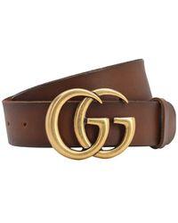 """Gucci 40mm Breiter Ledergürtel """"gg"""" - Braun"""