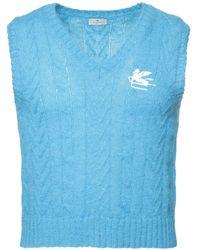 Etro Unterhemd Aus Mohairmischung Mit Logo - Blau