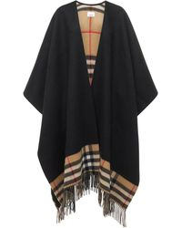 Burberry Checked Wool & Cashmere Knit Shawl - Black