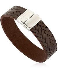 Montblanc - Steel & Leather Bracelet - Lyst