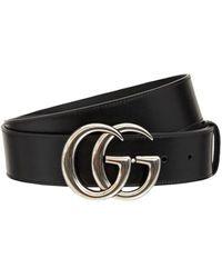 Gucci Gg Marmont レザーベルト 4cm - ブラック