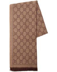 Gucci Gg Jacquard Wool Scarf - Natural