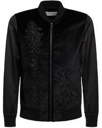 Alexander McQueen Куртка-бомбера Из Атласа С Вышивкой - Черный