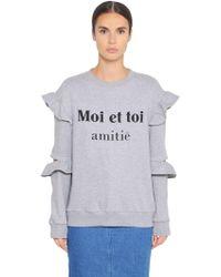Steve J & Yoni P - Cotton Sweatshirt W/ Ruffled Sleeves - Lyst