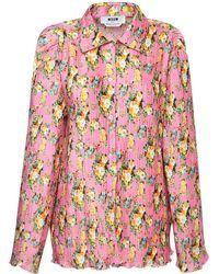MSGM Bedrucktes Hemd Aus Satin - Pink