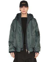 Juun.J - Nylon Bomber Jacket W/ Jersey Hood - Lyst