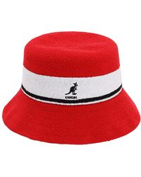 Kangol Bermuda Stripe Bucket Hat - Red
