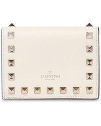Valentino Garavani Valentino Garavani Rockstud レザーコンパクトウォレット - ホワイト
