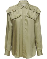 Bottega Veneta Рубашка С Карманами На Плечах - Зеленый