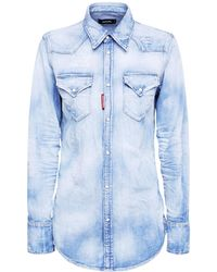 DSquared² Рубашка Из Легкого Стрейч-денима - Синий