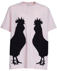 Loewe T-shirt En Jersey De Coton Imprimé Coq - Rose