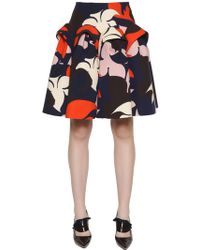 Delpozo - Flared Floral Printed Cotton Crepe Skirt - Lyst
