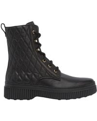 Tod's 20mm Quilted Leather Combat Boots - Black