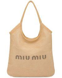 Miu Miu Bolso De Rafia Y Lino Con Logo - Neutro