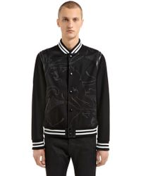 Valentino - Panther Leather & Wool Varsity Jacket - Lyst