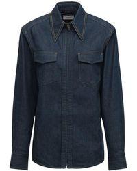Lemaire Zipped Denim Shirt - Blue