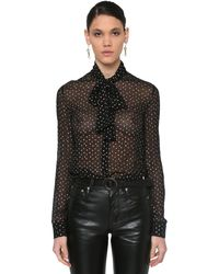 Saint Laurent Printed Micro Star Chiffon Sheer Blouse - Black