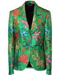 Versace Seidenblazer Mit Druck - Grün