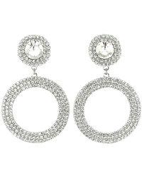 Alessandra Rich Crystal Hoop Clip-on Earrings - Mettallic